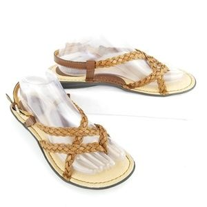 Born Strappy Sandals Size 9 Brown Braided Toe Shoe